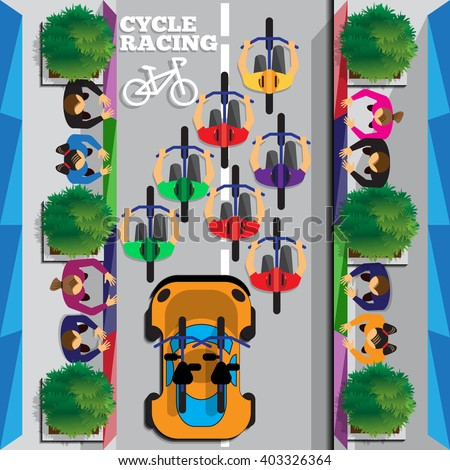 Cyclists group at professional race. Riding through the city. Top view. Vector illustration. Applique with realistic shadows. - stock vector