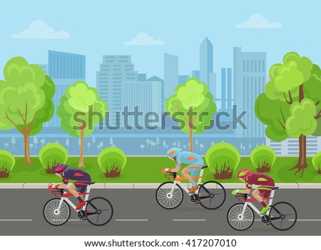 Cyclists mans on road race bicycle racing in city park concept. Cyclist bicycle racing sport, Cyclist bicycle illustration, Cyclist bicycle racing competition concept, Cyclist bicycle competition - stock vector
