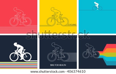 Cyclists on bikes, icons set isolated on colorful background, vector illustration. People riding bikes; bikers and bicycling; sport and exercise - stock vector