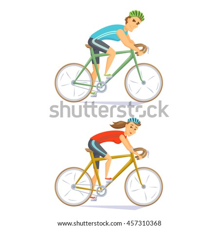Cyclists on road bikes set. People riding bicycle. Cyclists man and woman. Couple on cycling competition. Cyclist cartoon character vector illustration. Cycle race. Athlete cycling on competition - stock vector