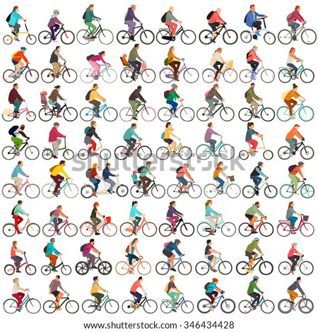 Cyclists vector set - stock vector