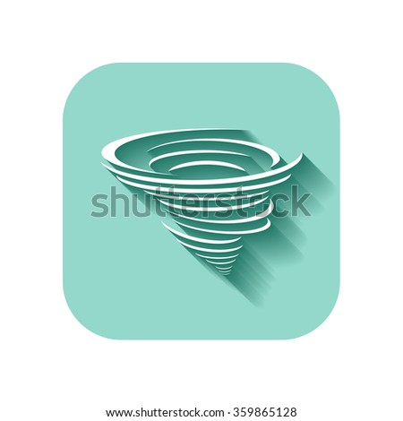 cyclone icon with long shadow - stock vector