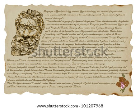 CYCLOPS. Clever pictures by Greek, Roman and Egyptian myths. Hand drawing. (Text in English language.) - stock vector