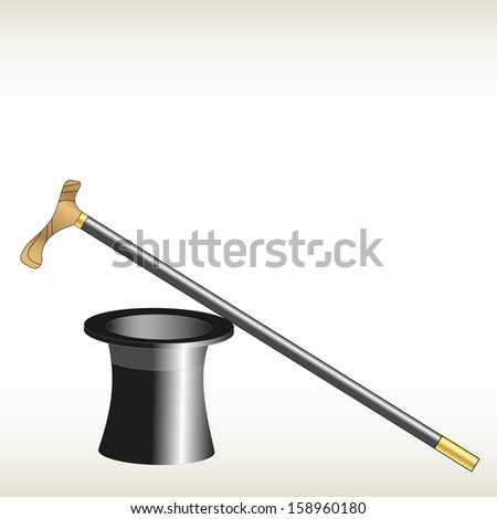 cylinder and cane against the white banner