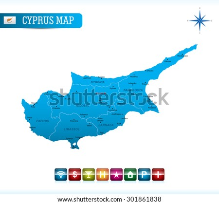 Cyprus Blue Map - stock vector