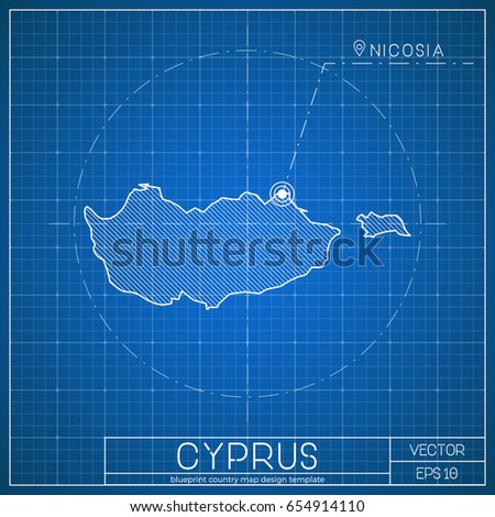Georgia Blueprint Map Template Capital City Stock Vector - Georgia map template