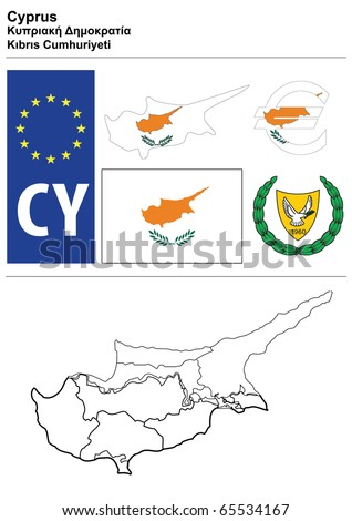 Cyprus collection including flag, plate, map (administrative division), symbol, currency unit & coat of arms - stock vector