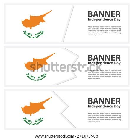 Cyprus Flag banners collection independence day - stock vector