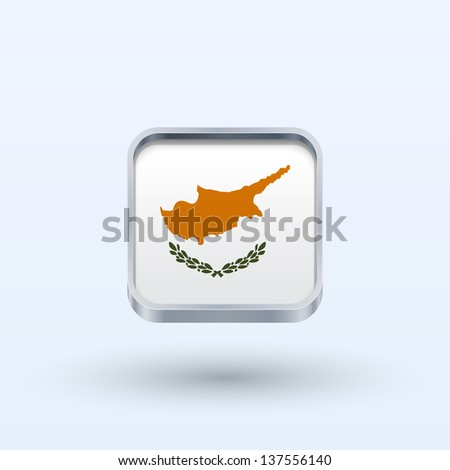 Cyprus flag icon square form on gray background. Vector illustration. - stock vector