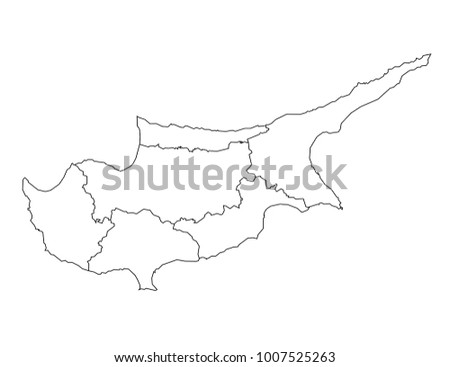 Cyprus Outline Map Detailed Isolated Vector Stock Vector - Cyprus blank map