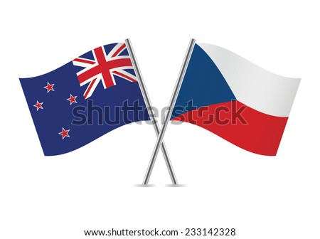 Czech and New Zealand flags. Vector illustration.