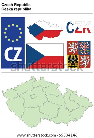Czech collection including flag, plate, map (administrative division), symbol, currency unit & coat of arms - stock vector