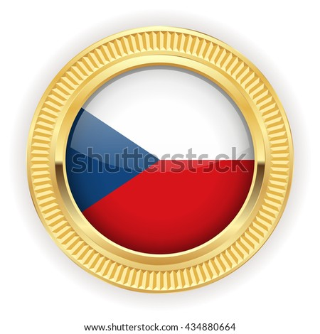 Czech flag buttons with silver border on white background