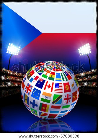Czech Republic Flag with Globe on Stadium Background Original Illustration