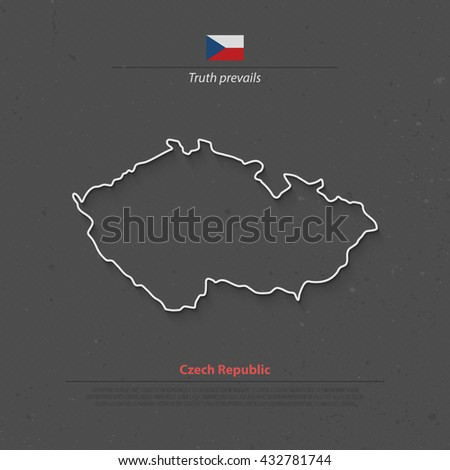 Czech Republic isolated map and official flag icons. vector Czech political thin line style map. European country geographic banner template. travel and business concept maps. Czech map icon - stock vector