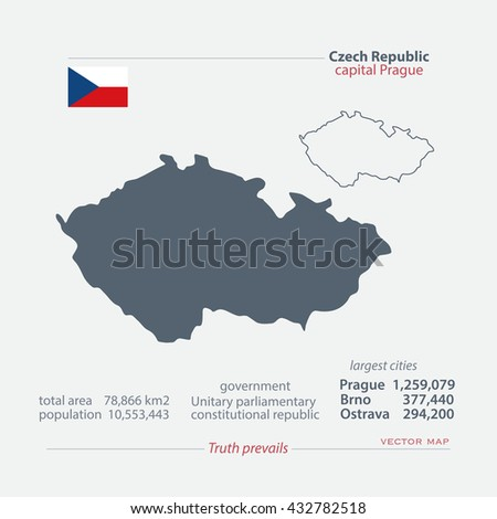 Czech Republic isolated maps and official flag icon. vector Czech political map icons with general information. Central Europe geographic banner template. travel business concept map. vector maps icon - stock vector