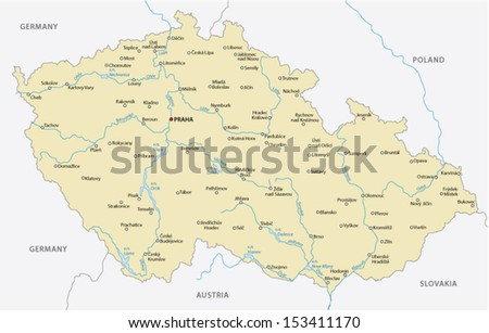 czech republic map - stock vector