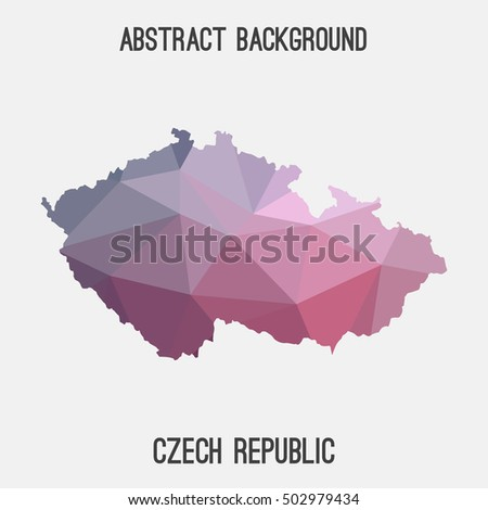 Czech Republic map in geometric polygonal,mosaic style.Abstract tessellation,modern design background,low poly. Vector illustration.