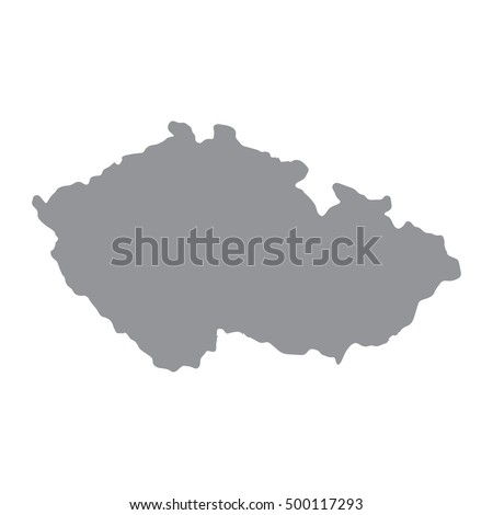 Czech Republic map in gray on a white background