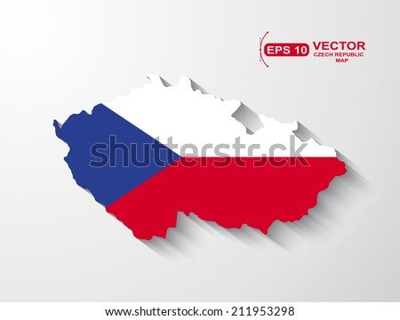 Czech Republic map with shadow effect - stock vector