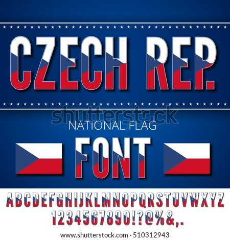 Czech Republic National Flag stylized Font. Alphabet and Numbers in Vector Set