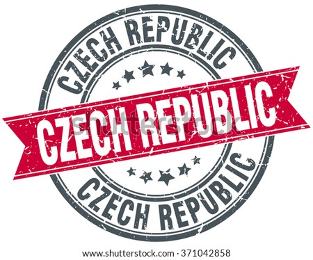Czech Republic red round grunge vintage ribbon stamp