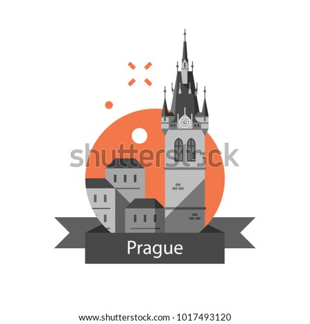 Czech Republic Travel Destination Prague Symbol Stock Vector 2018