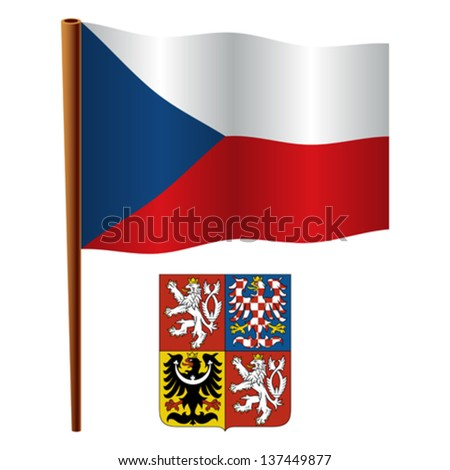 czech republic wavy flag and coat of arms against white background, vector art illustration, image contains transparency