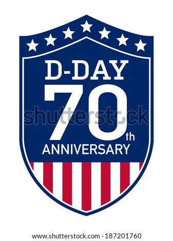 D-Day Anniversary badge - stock vector