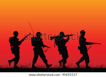 D-day. Vector silhouette of soldiers. - stock vector