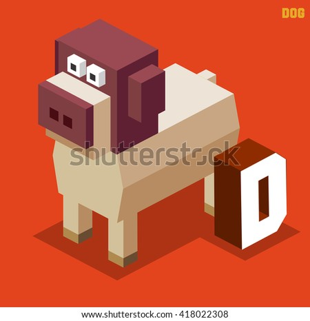 D for Dog. Animal Alphabet collection. vector illustration - stock vector