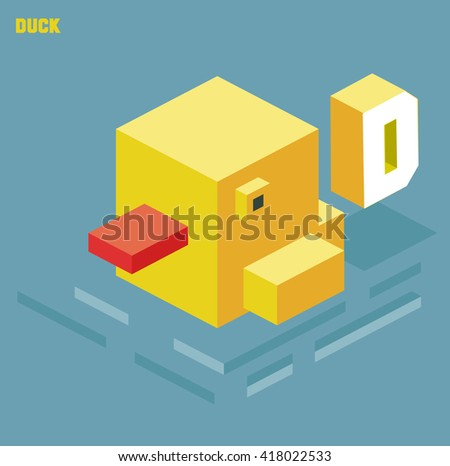 D for duck. Animal Alphabet collection. vector illustration