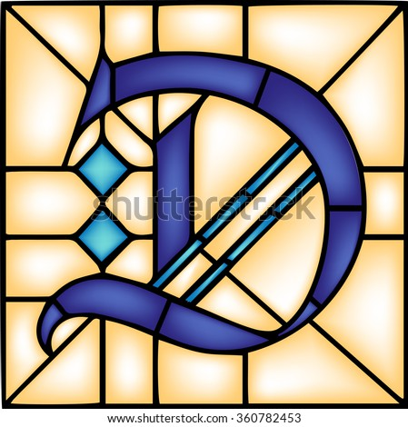 D - Gothic font, English alphabet, letter, vector illustration in stained glass window style