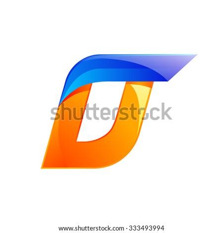 D letter blue and Orange logo design Fast speed design template elements for application. - stock vector