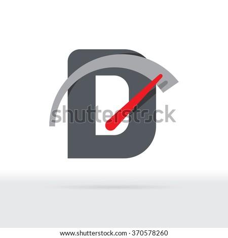 D Letter Car Speedometer, D Letter Meter Logo - stock vector