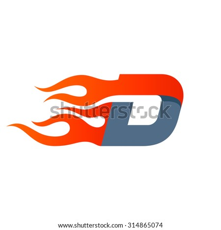 D letter logo design template. Fast fire speed vector unusual letter. Vector design template elements for your application or company. - stock vector