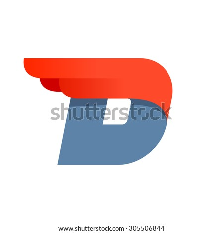D letter logo design template. Second version. Fast speed vector unusual letter. Vector design template elements for your application or company. - stock vector