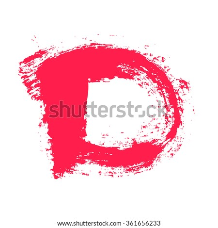 D letter painted with a dry brush. Real hand drawn font. Vector grunge style design elements for use in posters or prints.
