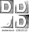 D part of a complete alphabet of vintage rubber stamp letters - stock vector