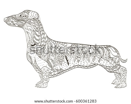 Dachshund Coloring Book Adults Vector Illustration Stock Vector
