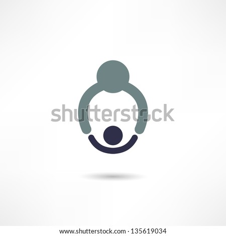 Dad and baby icon - stock vector