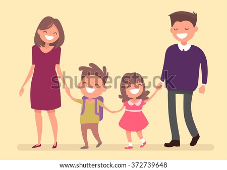 Dad Mom son and daughter go together hand in hand. Family on a walk. Vector illustration in a flat design - stock vector