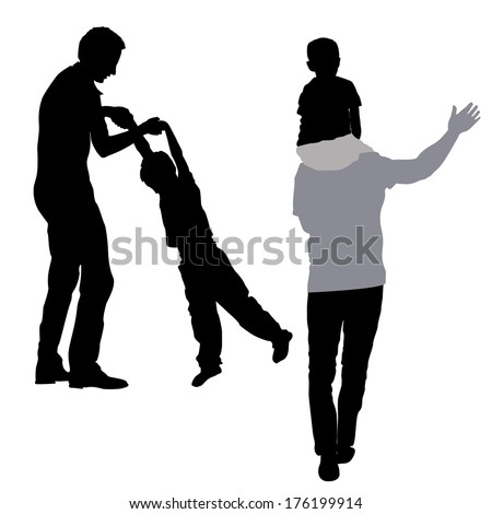 dad playing with his son silhouette - stock vector