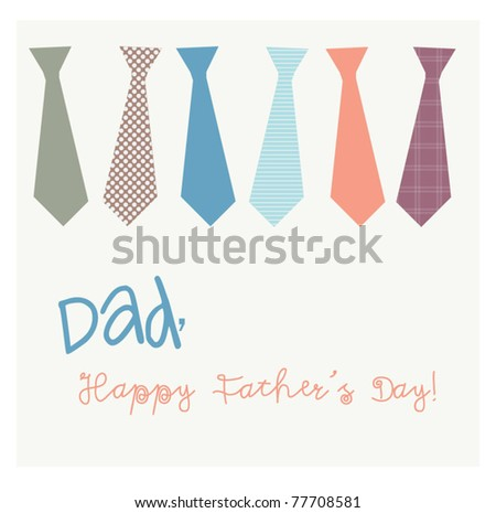 Dads tie card - stock vector