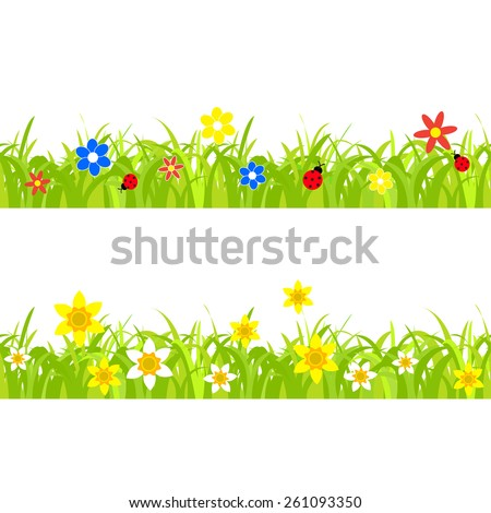 daffodil and ladybugs on a grass background with flowers seamless