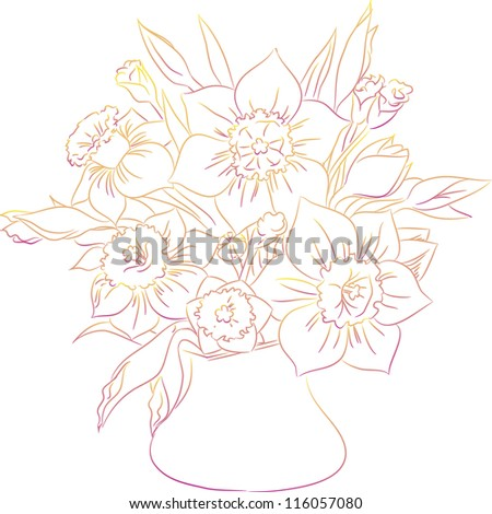 Daffodil bouquet vector illustration colored ink - stock vector