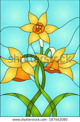 daffodils, spring flower love  Symbol of Wales / Stained glass window - stock vector