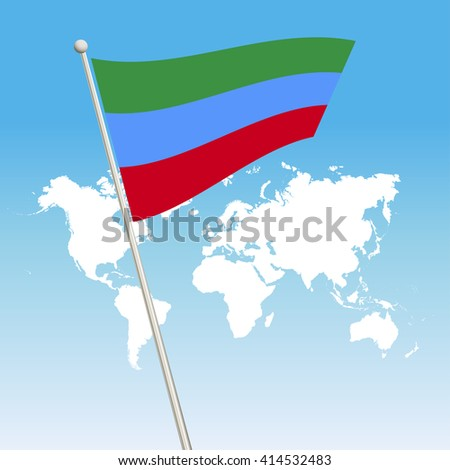 Dagestan Flag. waving flag