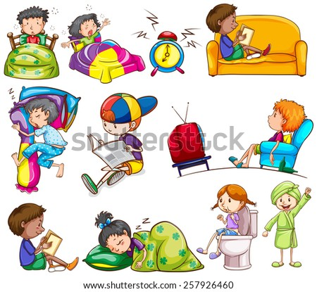 Daily activities of kids on a white background - stock vector