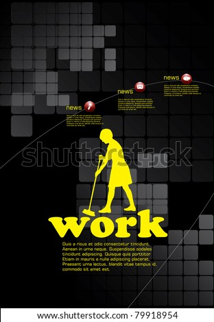 Daily Cleaning - Woman Mopping - stock vector